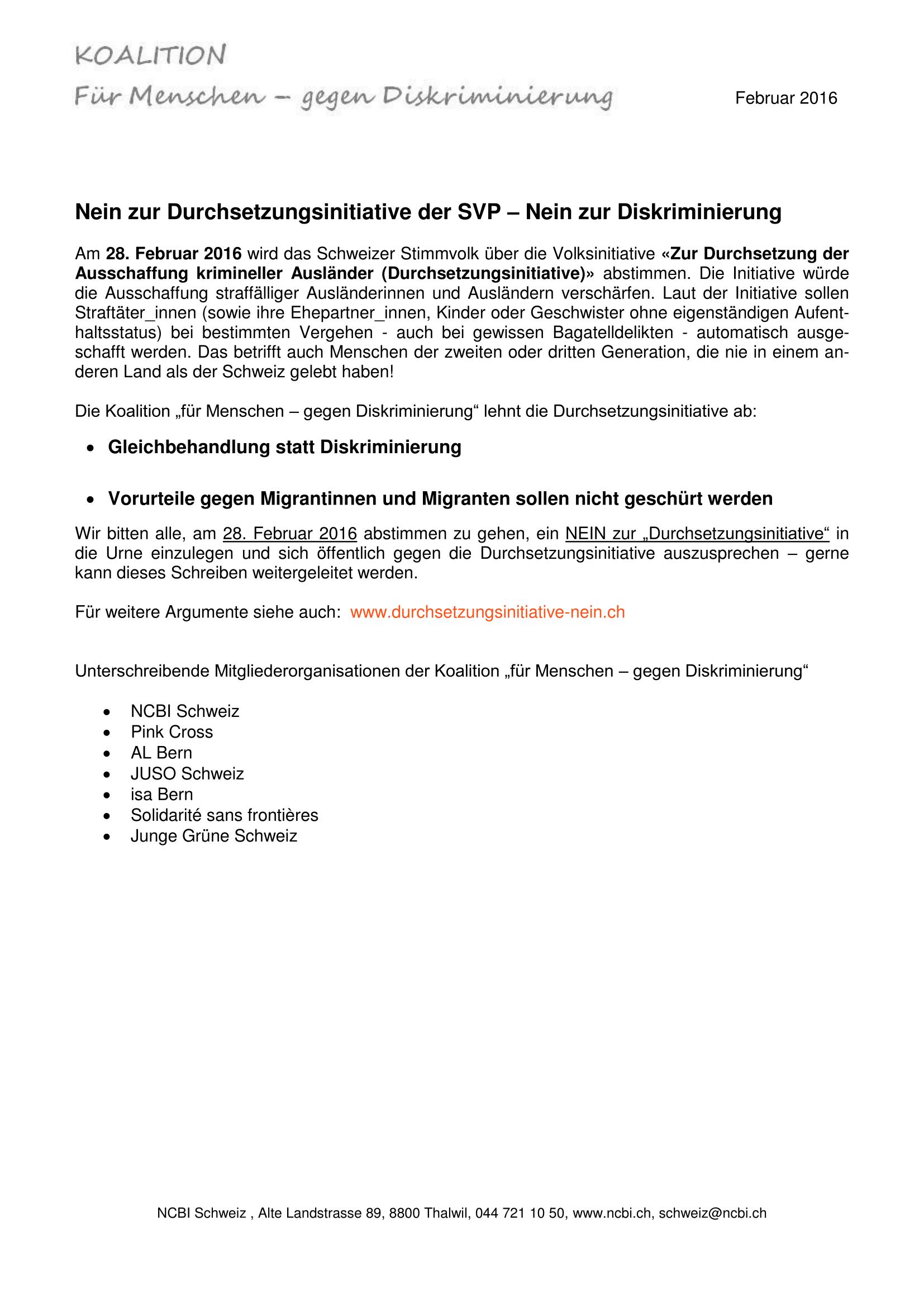 Stellungsnahme zur Durchsetzungsinitiative Koalition fMgD-1